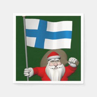 Serviettes Jetables Le père noël avec le drapeau de la Finlande