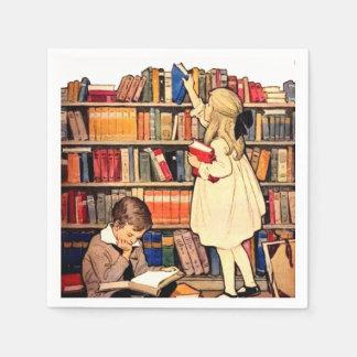 Serviettes Jetables Les enfants vintages lisant la bibliothèque