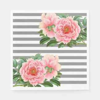 Serviettes Jetables Lignes roses de gris de pivoines