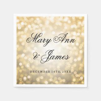 Serviettes Jetables Lumières de scintillement d'or de mariage