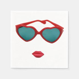 Serviettes Jetables Lunettes de soleil et lèvres rouges de sucrerie