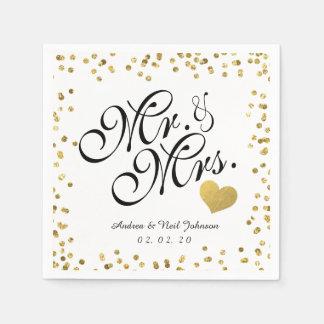 Serviettes Jetables M. de confettis de scintillement d'or de Faux et