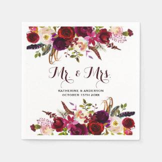 Serviettes Jetables M. et Mme floraux chics rustiques Wedding de