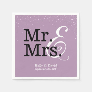 Serviettes Jetables M. et Mme Modern Purple Wedding