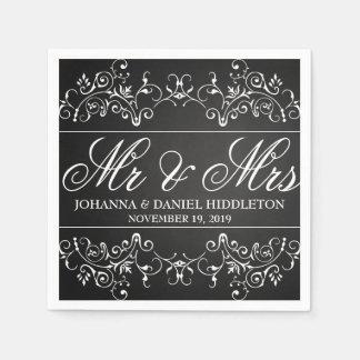 Serviettes Jetables M. vintage et Mme Wedding de décor de Flourish de
