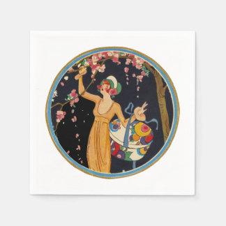 Serviettes Jetables Madame dans des fleurs de cerisier jaunes de