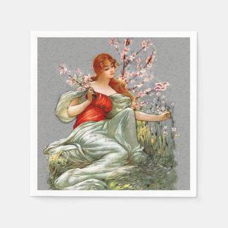 Serviettes Jetables Madame rouge vintage Pink Flowers Flowing Gown de