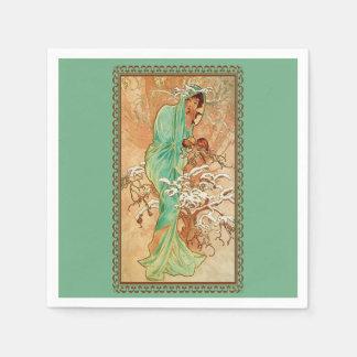 Serviettes Jetables Madame vintage Green Golden Tree d'art déco