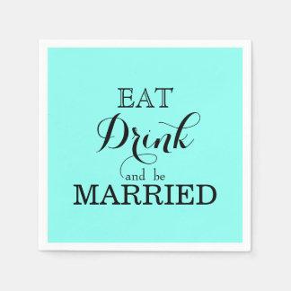 Serviettes Jetables Mangez la boisson et soyez marié