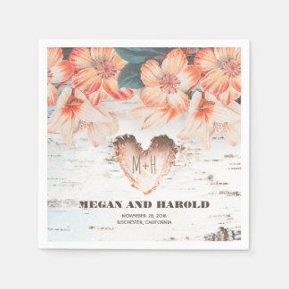 Serviettes Jetables Mariage campagnard rustique de coeur floral de