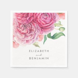 Serviettes Jetables Mariage élégant botanique d'aquarelle florale rose