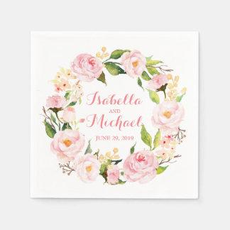 Serviettes Jetables Mariage floral d'aquarelle de guirlande