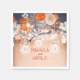 Serviettes Jetables Mariage floral d'arbre de maçon de lumières