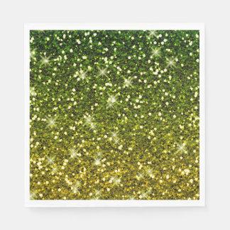 Serviettes Jetables Miroiter des scintillements vert-foncé d'or