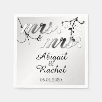 Serviettes Jetables Mme florale blanche noire élégante Wedding Napkin