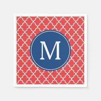 Serviettes Jetables Monogramme rouge et bleu de coutume de Quatrefoil