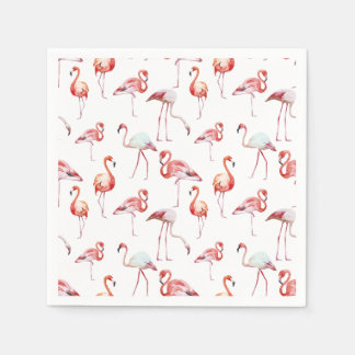 Serviettes Jetables Motif blanc de flamant d'aquarelle tropical