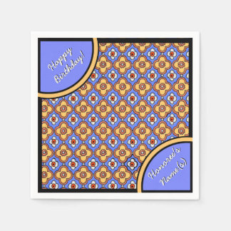 Serviettes Jetables Motif gothique français de tuile - jaune-orange