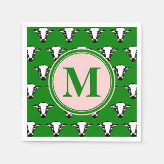 Serviettes Jetables Motif mignon de visage de vache à monogramme