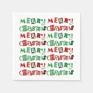 Serviettes Jetables Noël rouge et vert d'amusement Joyeux