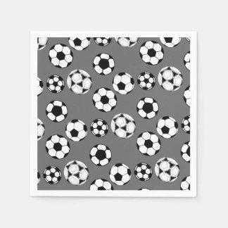 Serviettes Jetables Noir de blanc gris de ballons de football
