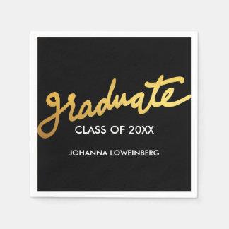 Serviettes Jetables Noir moderne de typographie de diplômé d'or