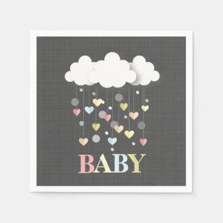 Serviettes Jetables Nuages + Baby shower de neutre de coeurs