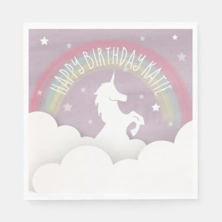 Serviettes Jetables Nuages d'arc-en-ciel de silhouette de licorne +