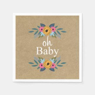 Serviettes Jetables Oh bébé ! Baby shower floral rustique de guirlande