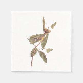 Serviettes Jetables Oiseau vintage de fauvette de magnolia d'Audubon