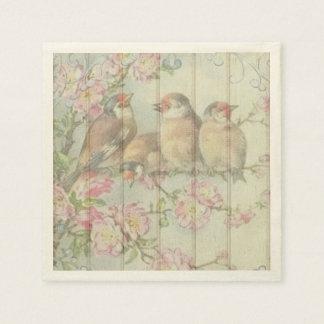 Serviettes Jetables oiseaux en pastel de chanson de serviettes de
