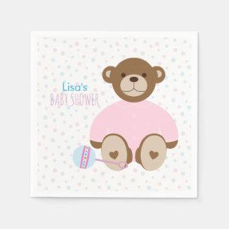Serviettes Jetables Ours de nounours habillé dans le baby shower rose