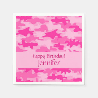 Serviettes Jetables Partie rose de joyeux anniversaire de camouflage