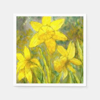 Serviettes Jetables Peinture d'aquarelle, art jaune de fleurs,