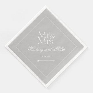 Serviettes Jetables Personnalisé épousant M. Mme Silver