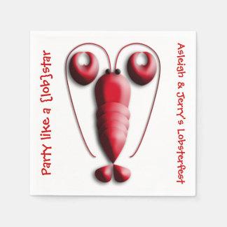Serviettes Jetables Pince en forme de coeur de homard rouge adorable