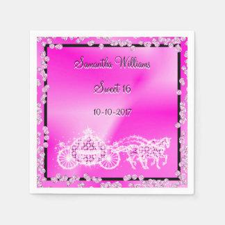 Serviettes Jetables Princesse rose Coach et bonbon 16 à chevaux