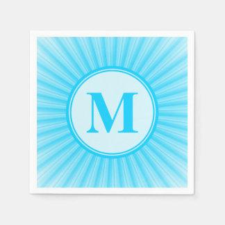 Serviettes Jetables Rayons bleus de monogramme de lumière