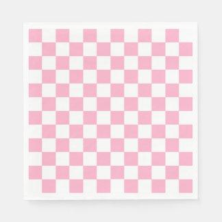 Serviettes Jetables Rose Checkered et blanc