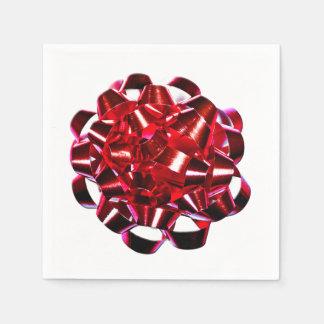 Serviettes Jetables Ruban brillant de vacances d'arc rouge de Noël