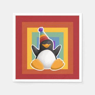 Serviettes Jetables Serviette de carré d'arc-en-ciel de pingouin de