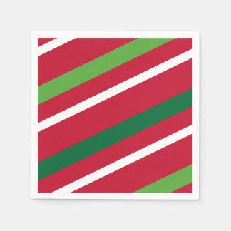 Serviettes Jetables Serviette rouge et verte de rayure