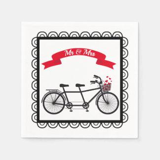 Serviettes Jetables Serviette tandem de mariage de bicyclette