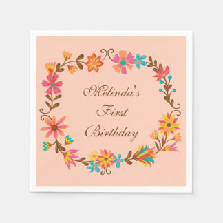 Serviettes Jetables Serviettes de papier d'anniversaire floral fait