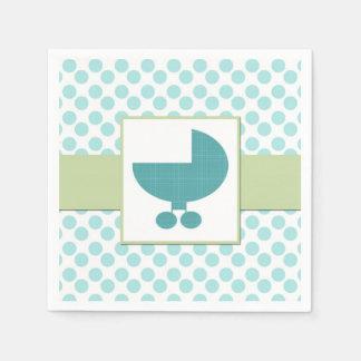 Serviettes Jetables Serviettes de papier de baby shower de turquoise