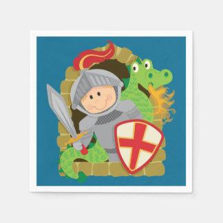 Serviettes Jetables Serviettes de papier de chevalier et de dragon