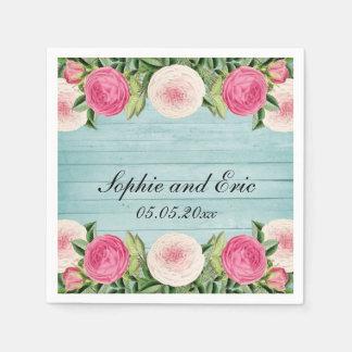Serviettes Jetables Serviettes de papier de mariage rose floral de cru