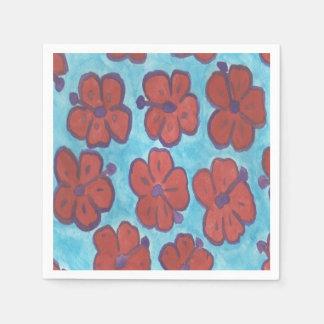 Serviettes Jetables Serviettes de papier de motif rouge de ketmie