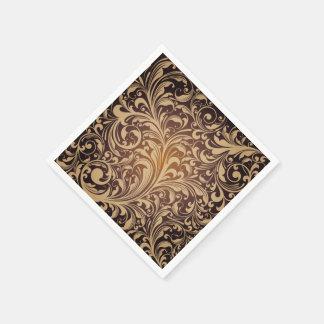 Serviettes Jetables Serviettes de papier florales d'or