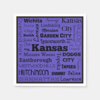 Serviettes Jetables Serviettes de typographie de villes du Kansas